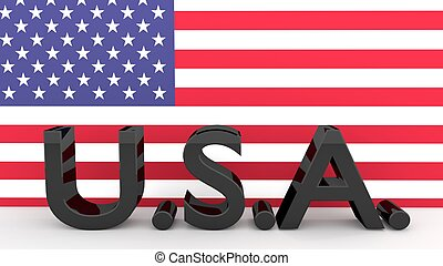Letters USA in front on an American Flag