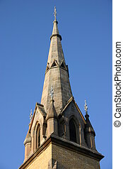 A Church Spire with blue sky background