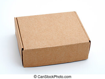 Cardboard box closed isolated on white background