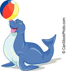 Circus seal playing a ball - Illustration of Circus seal...