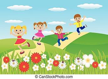 caminho, pressa, crianças, Feliz