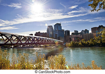 Calgary pedestrian bridge - A pedestrian bridge accross Bow...