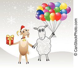 goat and sheep with a gift and air marbles,vector...