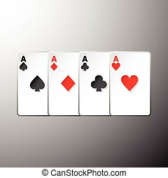 Four playing cards suits symbols on gray background, stock...