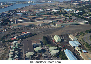 Aerial view of an industrial site. Newcastle Australia