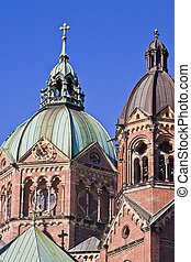 Domes of St Luke Church in Munich - Munich, view of St Lukes...