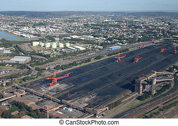 Coal stacker - An aerial view of a coal stacker in Newcastle...