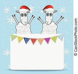 two sheep and greeting-card