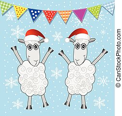 two sheep and festive garland