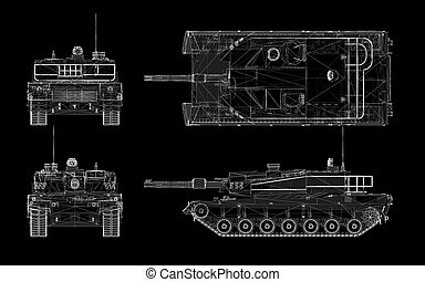 military tank model, body structure, wire model