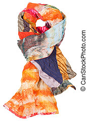 knot from patchwork and batik scarf isolated on white...