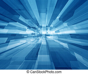 Cubic space - Concentrical transparent blue cubes structural...