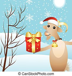 merry goat with a gift, vector illustration