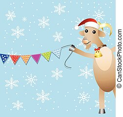 merry goat and festive garland,  vector  illustration