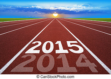 New Year 2014 on running track concept with sun & blue sky