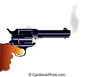 Smoking Gun - A revolver pistol with rising smoke as...