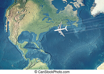 White Civil Airplane over the Atlantic ocean flying to the...
