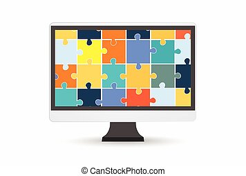 The electronic device with puzzles on a white background