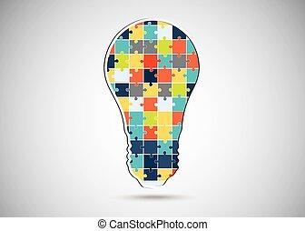 Puzzle piece light idea bulb.