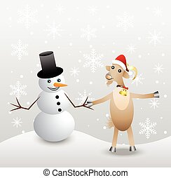 merry goat and snow man,vector illustration