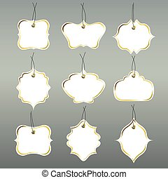 Paper tags collection isolated on grey background