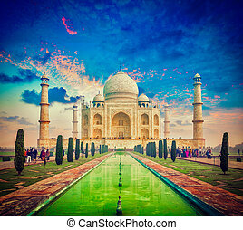 Taj Mahal on sunrise sunset, Agra, India - Vintage retro...