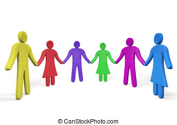 Colorful abstract people standing hand in hand