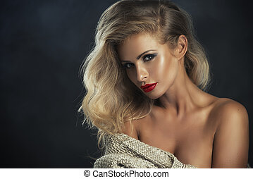 Sexy strict woman with red lips
