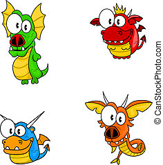 Cartoon dragons - The collection of four funny cartoon...