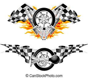 スポーツ, レース, 紋章, -, 二番目に, セット