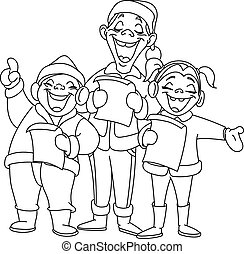 Outlined christmas carolers - Outlined Christmas carolers....