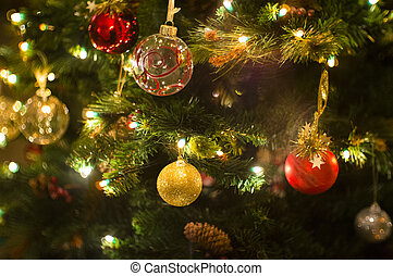 Chistmas Decoration - Christmas tree decorated with lights,...