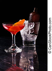 Red alcoholic summer cocktail