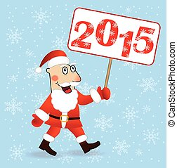 merry Santa claus with numbers 2015,vector illustration