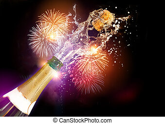 Champagne And Fireworks - A bottle of Champagne with its...