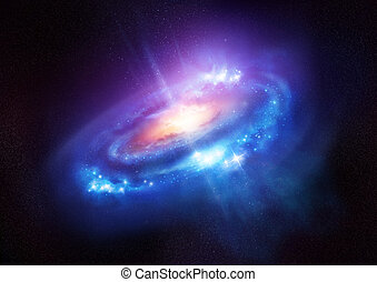 A Colourful Spiral Galaxy in Deep Space - A beautiful bright...