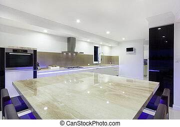 Modern kitchen with LED lights