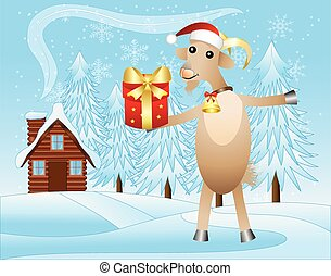 merry goat with a gift on a background winter landscape,...