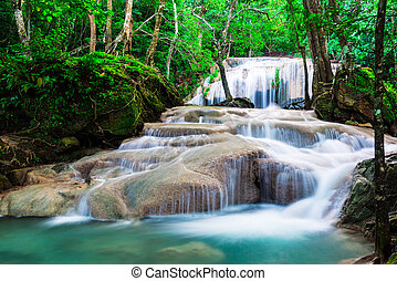 Waterfall in the Jungle at Erawan National Park