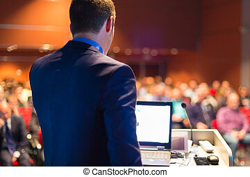 público, orador, en, empresa / negocio, Conference.,