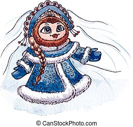 Owl Snow maiden character Vector Watercolor isolated - Owl...