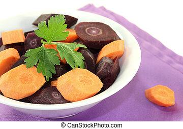 orange and purple carrots