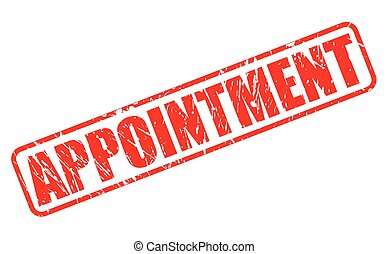 Appointment red stamp text on white