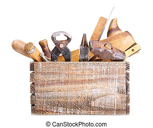 old tools in a box isolated on white background
