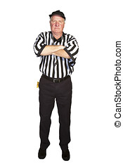 Man dressed as an NFL referee signalling delay of game foul