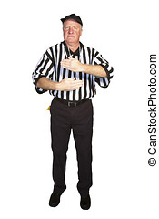 Man dressed as an NFL referee signalling false start