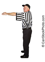 Man dressed as an NFL referee signalling a first down