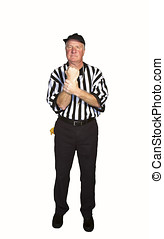 Man dressed as an NFL referee signalling a holding penalty