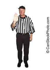 hombre, vestido, como, un, NFL, árbitro,...