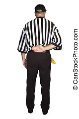 Man dressed as an NFL referee signalling illegal forward...